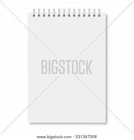 White Realistic A5 Notebook Closed With Soft Shadows. Vector Vertical Blank Copybook With Metallic W