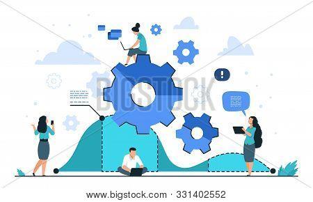 Cogwheel Business Concept. Teamwork And People Organization, Gear Mechanism Illustration. Vector Str