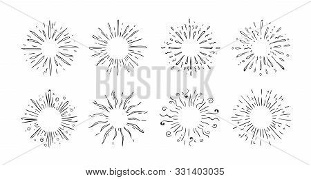Doodle Starburst. Hand Drawn Decorative Elements Of Shining Stars For Invitation Cards And Posters.