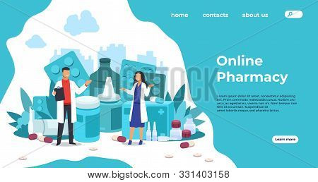 Pharmacy Landing Page. Medical Support And Drugs Addiction Concept, Blisters With Pills And Capsules