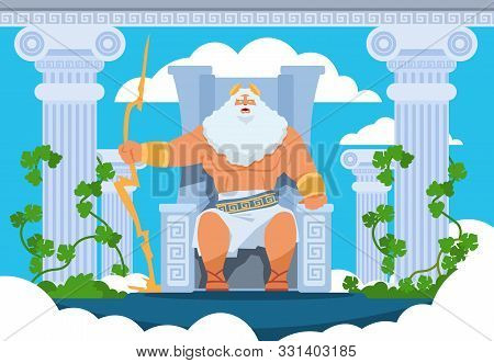Cartoon Zeus. Legendary God Character Of Ancient Greek Mythology On Olympus Mountain. Vector Mytholo