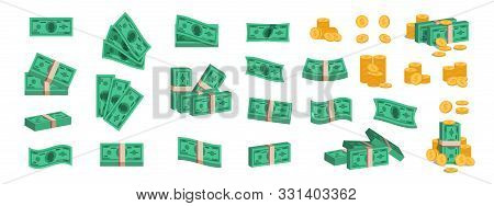 Bundle Of Money. Currency Coins And Banknotes, Collection Of Flat 3d Green Dollar Stack. Vector Cart