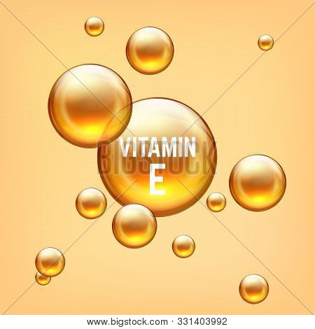 Vitamin E Realictic 3d Bubble. Golden Emulsion Balls Collagen Or Gel. Vector Illustration Isolated T