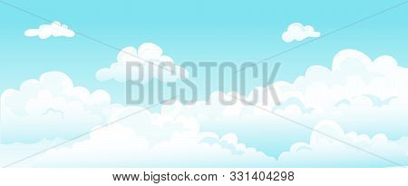 Cartoon Blue Sky And Curly Clouds. Vector White Cloud Beauty Dreams Horizontal Background. Cover Flu