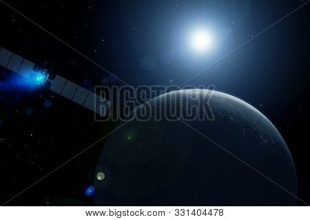 Space Satellite Over The Planet Earth. Elements Of This Image Were Furnished By Nasa.