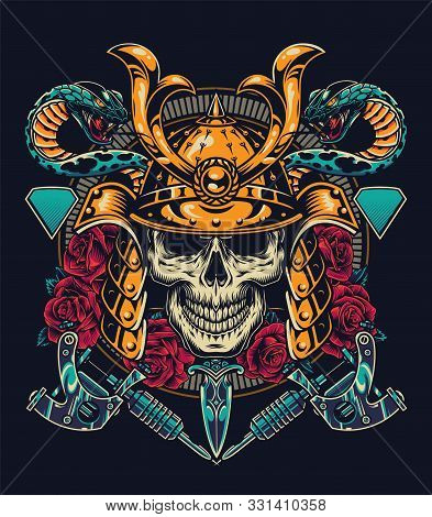 Vintage Tattoo Colorful Concept With Skull In Samurai Metal Helmet Snakes Tattoo Machines Dagger Ros