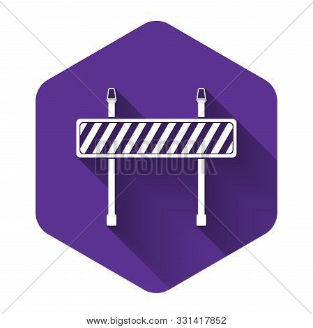 White Road Barrier Icon Isolated With Long Shadow. Fence Of Building Or Repair Works. Hurdle Icon. P