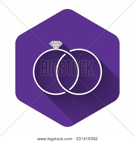 White Wedding Rings Icon Isolated With Long Shadow. Bride And Groom Jewelery Sign. Marriage Icon. Di