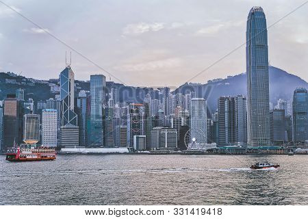 Star Ferry And Victoria Harbor Of Hk