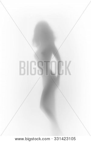 Beautiful Perfect, Naked Body Sexy Woman Silhouette Can Be Seen Through A Textile Diffuse Surface