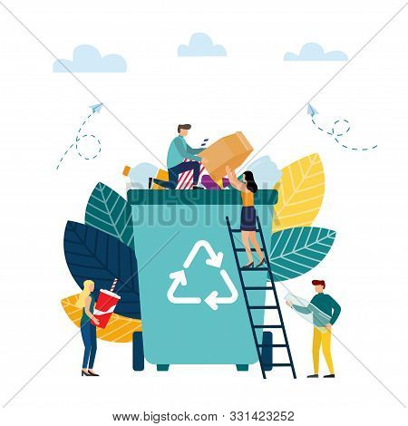 Waste Sorting. Separation Garbage To Reduce Environment Pollution. Man And Woman Collect Garbage. Ve