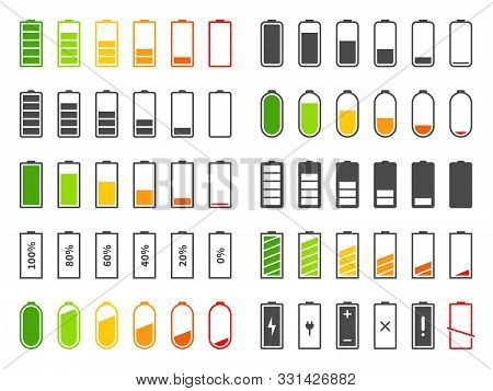 Battery Icons. Charging Level Batteries Charge Indicator, Alkaline Tags Rechargeable Levels. Full, L