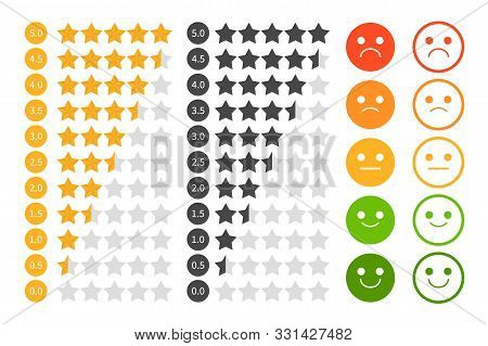 Star Rating Set Vector Isolated. Golden And Black Star Shape. Quality Of Service Measurement. Rankin
