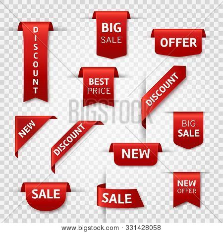 Red Ribbon Labels. Big Sale, New Offer And Best Price, Discount Silk Scarlet Promotional Event Banne