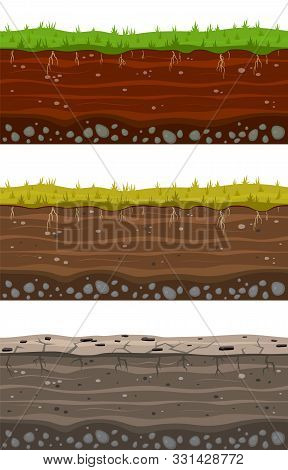 Soil Ground Layers. Seamless Ground, Earth Drying Process. Dirt Clay Surface Texture With Stones And