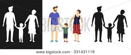 Happy Family, Silhouette Of A Happy Family. Mom, Dad And Son Go Holding Hands. Vector, Cartoon Illus