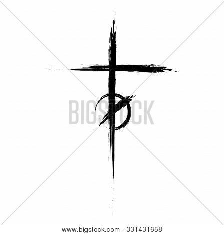 Black Christian Cross Icon. Hand Drawn Christian Cross. Abstract Linear Christian Cross. Vector Illu