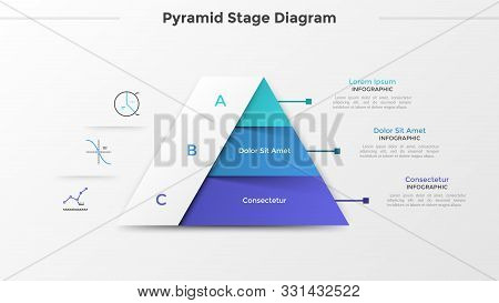 Triangular Chart Or Pyramid Diagram Divided Into 3 Parts Or Levels, Linear Icons And Place For Text.