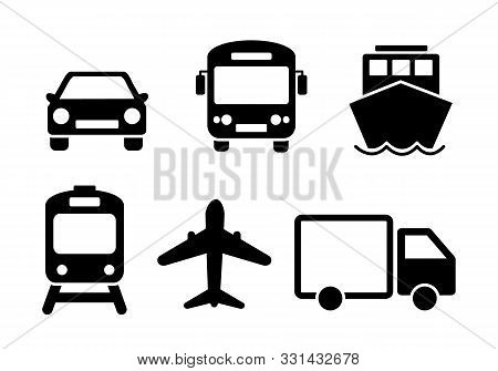 Means Of Transport Icon Set. Black Solid Flat Travel Modes Web Icons Of Car, Train, Ship, Airplane A