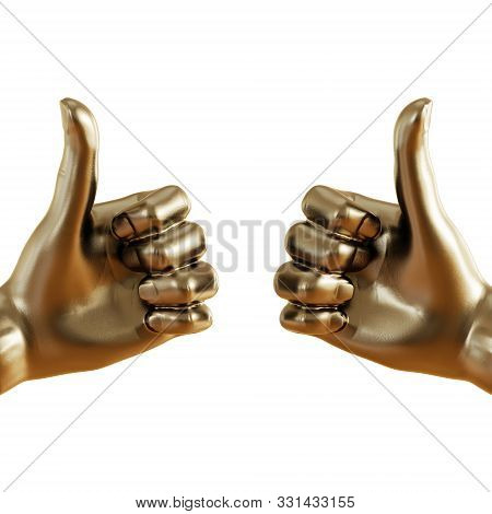 Gold Figurine Of A Hand With A Protruding Thumb Up On An Isolated Background. 3d Rendering