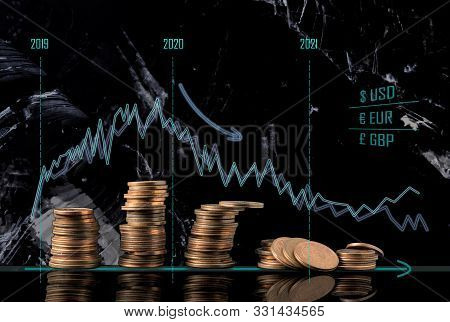 Coin Stacks And Receding Economy Graphs. Conceptual Image Of The Economical Situation And Possible U