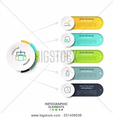 Five Rounded Options Connected To Main Paper White Circle By Lines. Modern Realistic Infographic Des