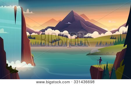 Modern Cartoon Landscape Illustration Of River In The Mountains With A Waterfall And A Person In Fro