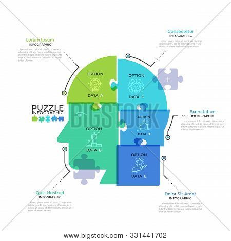Human Head Or Profile Divided Into 5 Colorful Translucent Jigsaw Puzzle Pieces. Concept Of Five Feat