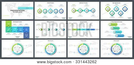 Collection Of Flat And Realistic Infographic Design Layouts - Process Diagrams Or Timelines, Circula