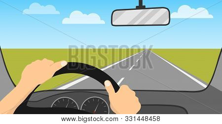 The Driver Is Driving A Car. The Driver Rides On The Road. Vehicle Interior. Cartoon Illustration Of