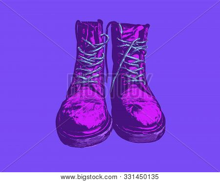 Cool Stylish Boots In Purple. Vaporwave Aesthetic Vector