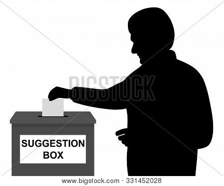 Man Businessman Employee Or Customer Inserting Or Putting Blank Paper Or Envelope In Suggestion Box.