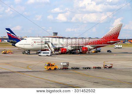Moscow, Russia - September 8, 2019: Rossiya Boeing 747 Is Boarded In The Sheremetyevo International