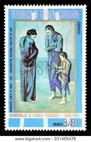 Cancelled Postage Stamp Printed By Equatorial Guinea, That Shows Paintings Of The Blue Period By Pic