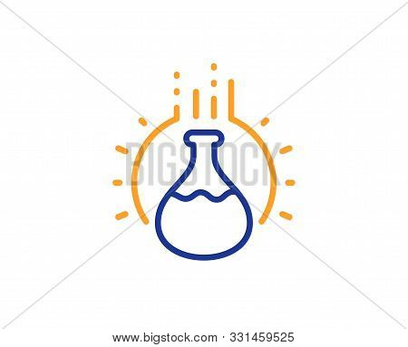 Laboratory Flask Sign. Chemistry Experiment Line Icon. Analysis Symbol. Colorful Outline Concept. Bl