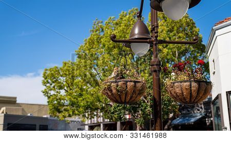 Decorative Flower Baskets Hung On Light Post Outside In A Shopping Plaza