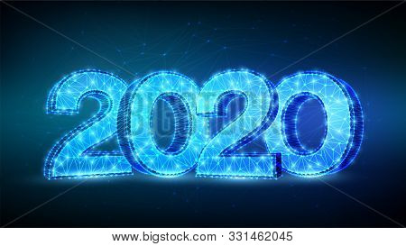 2020 Numbers. Happy New Year 2020 Banner Design. Geometric Low Poly 2020 New Year Greeting Card. 3d