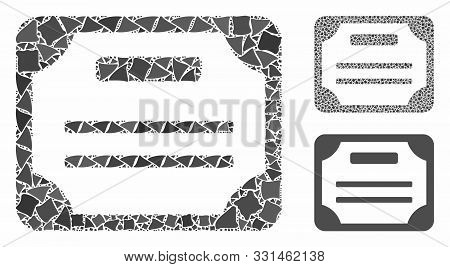 License Mosaic Of Raggy Pieces In Various Sizes And Color Tints, Based On License Icon. Vector Tuber