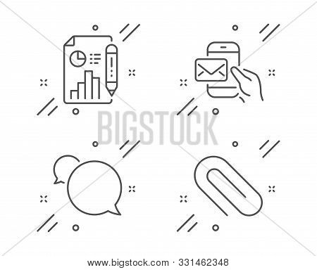 Messenger Mail, Messenger And Report Document Line Icons Set. Paper Clip Sign. New E-mail, Speech Bu
