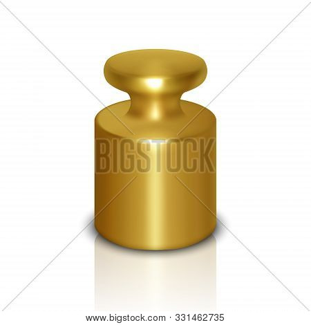 Vector 3d Realistic Metal Golden Calibration Laboratory Weight Icon With Reflection Closeup Isolated