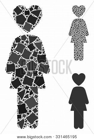 Lover Woman Mosaic Of Inequal Pieces In Various Sizes And Color Tints, Based On Lover Woman Icon. Ve