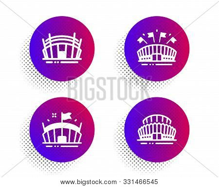 Arena Stadium, Sports Arena And Sports Stadium Icons Simple Set. Halftone Dots Button. Sport Complex