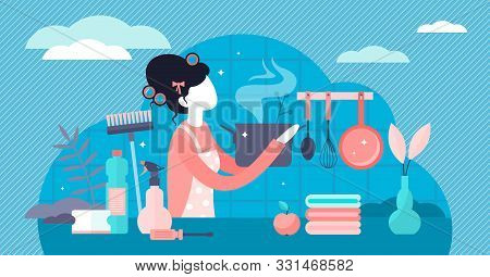 Housewife Vector Illustration. Flat Tiny Women Occupation Persons Concept. Stereotypical Female Hous