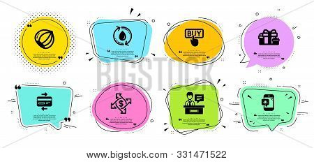 Weather Phone, Refill Water And Payment Exchange Line Icons Set. Chat Bubbles With Quotes. Holiday P