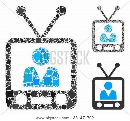 Television Composition Of Trembly Items In Various Sizes And Color Tones, Based On Television Icon.