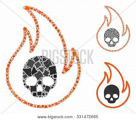 Hell Fire Mosaic Of Rough Items In Variable Sizes And Color Tinges, Based On Hell Fire Icon. Vector