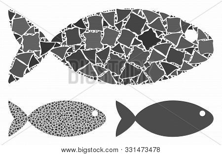 Fish Mosaic Of Inequal Parts In Various Sizes And Color Tones, Based On Fish Icon. Vector Uneven Par