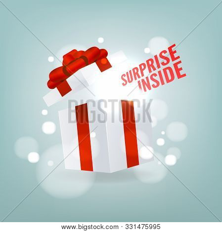 Surprise Inside Open Gift Box. Open White Gift Box With Red Ribbon And Bow. Birthday Surprise And Ch