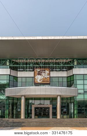 Da Nang, Vietnam - March 10, 2019: Portrait Of Trung Vuong Theatre Building, Focus On Pillared Entra