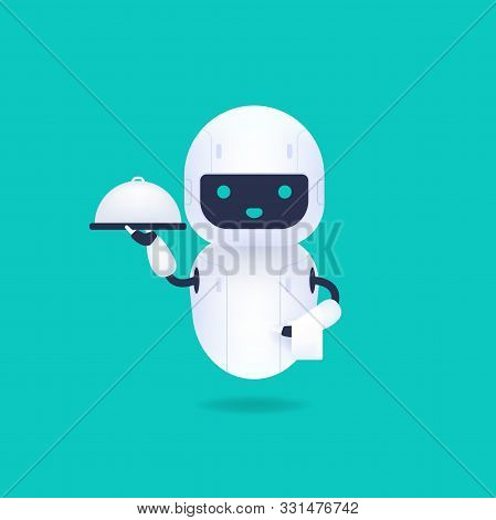 White Friendly Android Robot Holding A Serving Tray With A Breakfast, And White Towel. Robot Waiter,